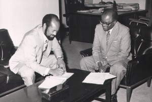 Nicaraguan Ambassador to Zambia presenting copies of letters credency to the Foreign Minister Mr. Lameck Goma (12 June 1981).