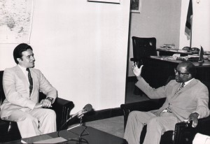 Portuguese Charge D'affairs Mr Vasco Valente calls on Foreign Affairs Professor  Lameck Goma (5 November 1981)